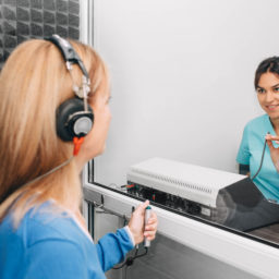 patient receiving hearing test
