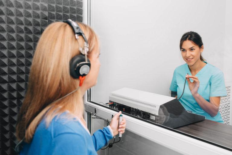 patient receiving hearing test